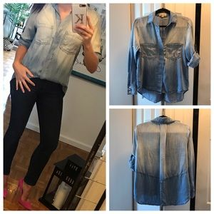 Anthropologie Cloth & Stone Blue Chambray Shirt